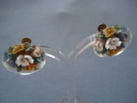 1940s - 1950s Floral Earrings - Reverse Carved Lucite (sold)